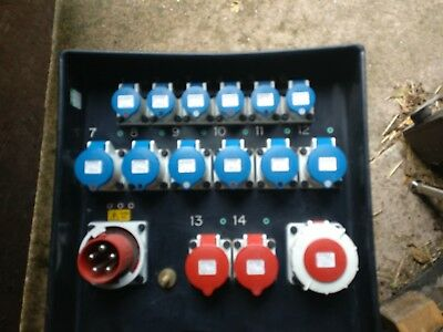 Mains Distribution Unit 63a with protected link through 2x3ph 32a - 6x32a- 6x16a
