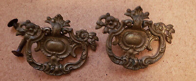 Pair Matching Antique Solid Cast Brass Drawer Pulls Handles (N110)