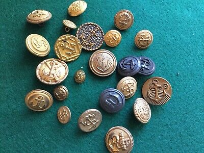 Lot Of Vintage Navy Military Uniform Metal Coat Buttons with Backmarks