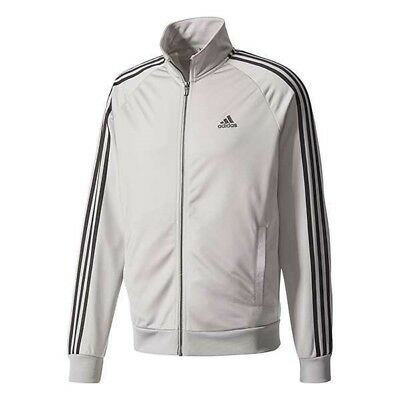 New Adidas Men's Essentials 3 Stripes Tricot Track Jacket~  Small  #bs2226 Grey