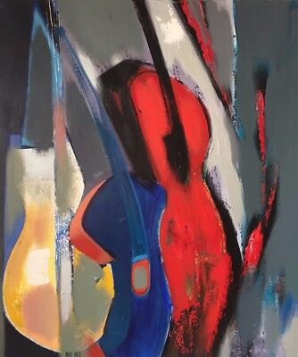 Still life with a red guitar, oil painting by Batjil Bayar