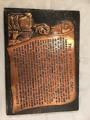 Choice Vintage Wall Hanging Copper Plaque With Hippocratic Oath!!!