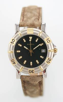 Fossil Unisex Two Tone Brown Leather Band Water Resistant Quartz Battery Watch