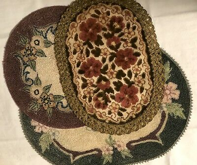 3 Vintage Doll House Rugs 1 Round 2 oval  Dollhouse Miniatures