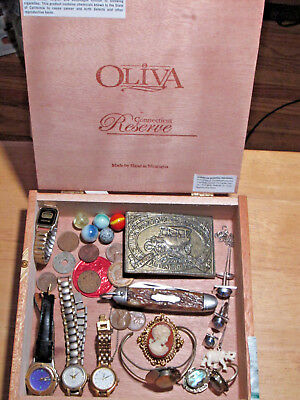 junk drawer lot estate sale jewelry sterling chain watches old marbles old cameo