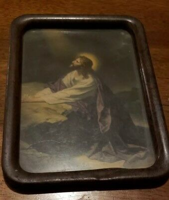 Antique old vintage Pic Of Jesus, Glass, Tin Or Metal Frame
