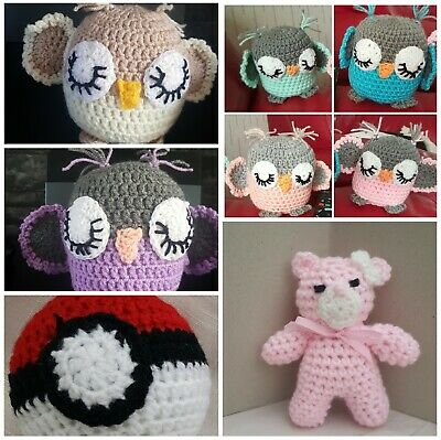 Handmade crochet sleepy owl pokemon ball toy comforter baby gift baby first toy