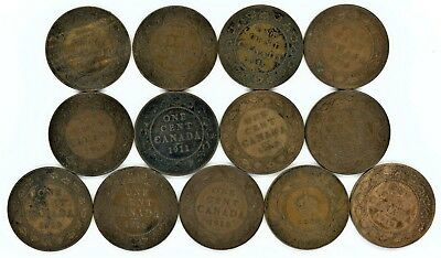 Canada large cent lot of 13 dates from 1911 to 1920
