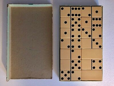 Vintage Antique Butterscotch Bakelite Catalin Chunky Large Domino Boxed Set
