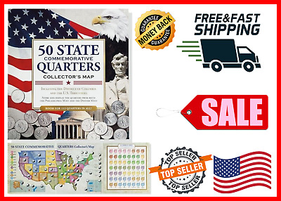 50 State Commemorative Quarters Collector's Map Book Album Coin Collection Gift