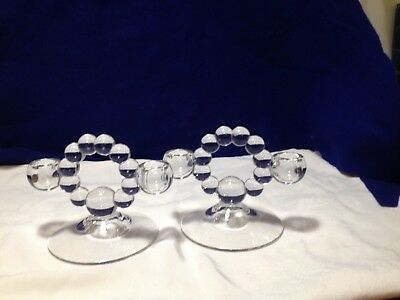 Vintage Pair of Imperial Glass Candlewick Double Light Candle Holders Candlestic