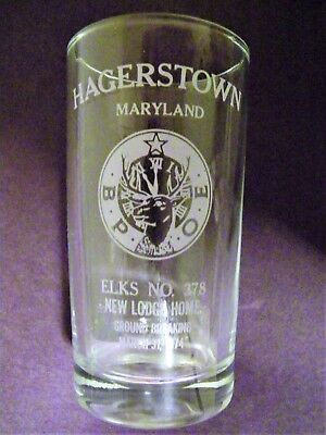 Commemorative Clear Drinking  Glass March 31,1974 Elk Lodge #378 Hagerstown, Md.