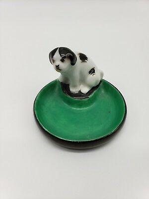 Noritake Art Deco Dog Pin Tray Green Black #30