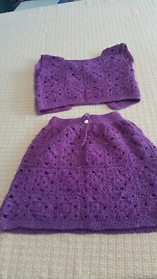 Vintage Child's Crocheted Granny Square Skirt And Vest