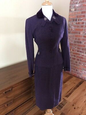 Vtg Forstmann 40s Skirt Suit WWII Purple wool & angora. flaw, mend, upcycle xs 4