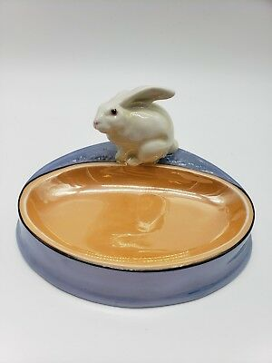 Noritake Art Deco Purple Peach Luster Figural Rabbit Ashtray 118