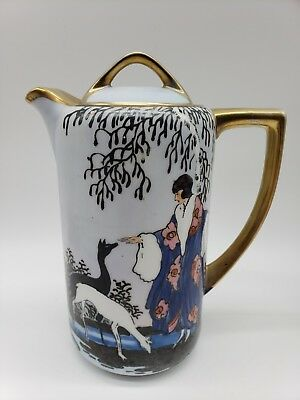 Noritake Art Deco White Blue Chocolate Pot Figural Woman Dogs No Luster 129