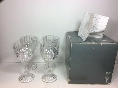 "Set 4 Pcs Mikasa Crystal Park Lane Pattern Water Wine Goblet 6-1/4""x3"" SN101/001"