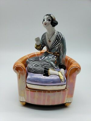 Noritake Art Deco Orange Luster Seated Smoking Lady The Holy Grail 122