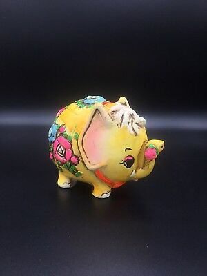 Vintage OSL Piggy Bank Hippie Elephant Made in Japan 60's Excellent Condition!