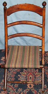 Antique Victorian Childs Folding Carpet Chair Original Hand Grained Doll Bear