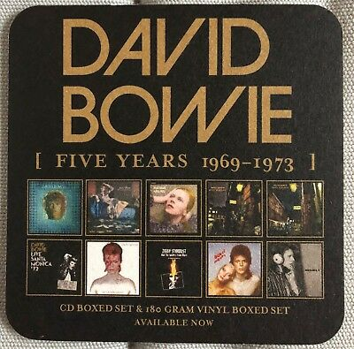 DAVID BOWIE RARE Promo Coasters for Five Years 1969-1973 cover art of 10 albums
