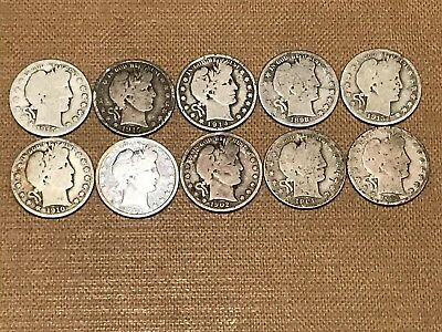 Lot Of (10) Barber Half Dollars. 90% Silver Coins 1892-1915