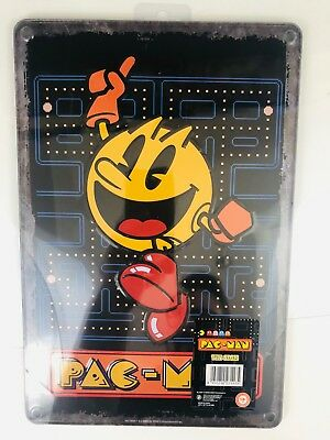 Entire Set Of 3 8 X 12 Retro Pac-man Tin Signs For Arcade Game Or Room Man Cave Cheap Sales Arcade, Jukeboxes & Pinball