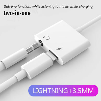 2 in 1 Lightning Adapter Headphone Jack Splitter Audio Cable For iPhone X 8 7 6