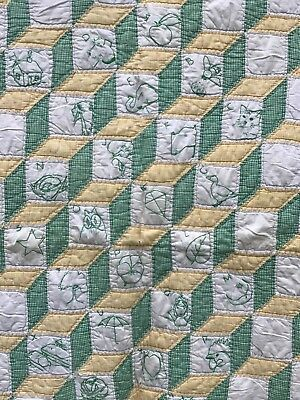 """Vtg Baby Cutters Quilt ABC Cubes # Scrap Fabric 46"""" x 58"""" Handmade Embroidered"""