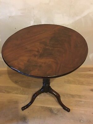 Antique Mahogany 18th Century Tilt Top Tripod Occasional Table Wine Side Lamp Sm