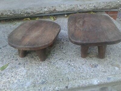 Senufo hand carved low stools - African