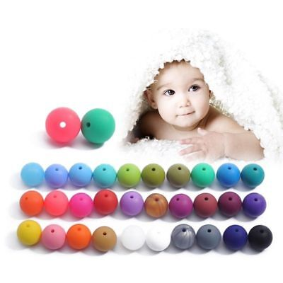 Silicone Beads Teething Necklace Baby DIY Safe Nursing Round High Quality