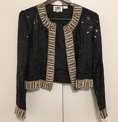 NWT Vintage Women's Jacket Sequin Beaded Size Small 100% Silk Nite Line