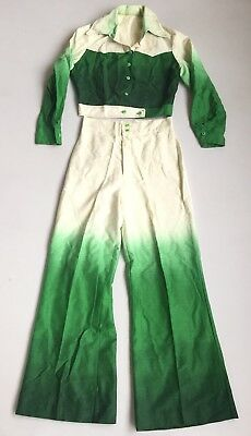 Vintage 60s 70s Xmas Holiday Bell Bottom Jumpsuit Disco Hippie Pantsuit Palazzo