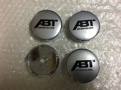 ABT Wheel Center Caps Alloy Logo Emblem Badge Center Hub Cap Set 60mm Silver