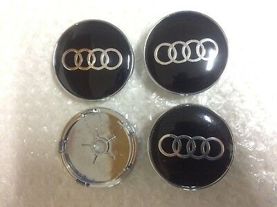 Audi Wheel Center Caps Alloy Emblem Badge Center Hub Cap Set 60mm Black