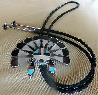Zuni Sun Face Bolo Mosaic & Channel Inlay Turquoise Coral Abalone 1967-1973