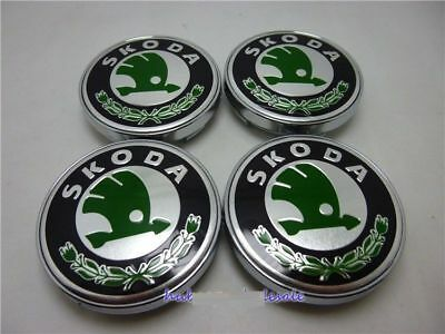 Skoda Wheel Center Caps Alloy Badge Emblem Center Hub Cap Set 60mm Green
