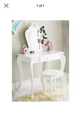 Amelia Vanity Girls Boys Kids White Wooden Dressing Table With Mirror & Stool