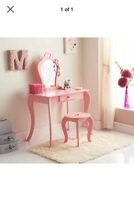 Amelia Vanity Childrens girls Pink Wooden Dressing Table With Mirror & Stool
