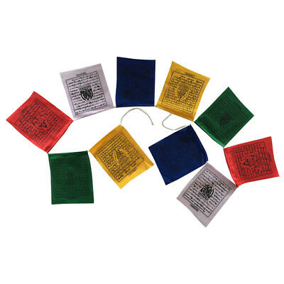 Tibetan Prayer Flags 10 Flags/Colours/5 Mantras-11 x 9 cm Peace & Good Will
