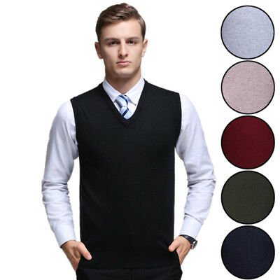 CLEARANCE Mens Sweater Vest V-neck Sleeveless Jumper Casual Knit Pullover Tops