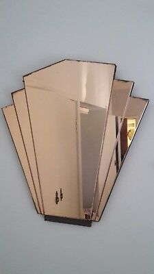 genuine Art deco 5 panelled mirror, pink in colour