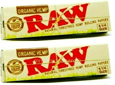 2 Packs Raw Organic Hemp Natural Unrefined Rolling Papers 1.25 1 1/4 50 Leaves