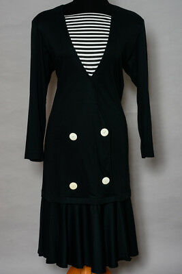 Vintage 80's dress, maxi navy and white with stripes, a nautical style  size 12