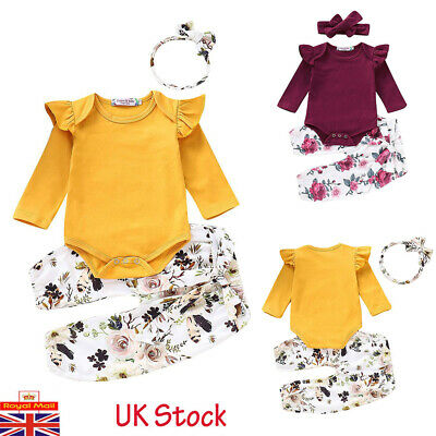 3PCs Newborn Baby Girl Floral Jumpsuit Romper Bodysuit Pants Outfit Clothes Set
