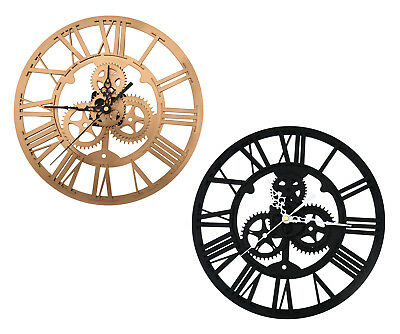 Black/Gold DIY 3D Gear Number Steampunk Wall Clock Sticker Home Office Decor