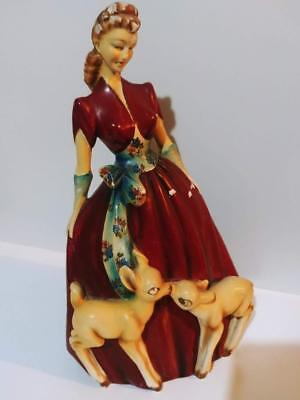 Vintage 1930s? Roman Lady and Fawn Deer Statue Figure Chalkware Plaster  30cm