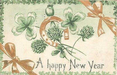 Postcard Happy New Year card posted Akron Ohio OH USA 1911